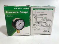 "Water Pressure Tank Gauge .25"" Bottom Mount 100 PSI Water Source M1002-4L"