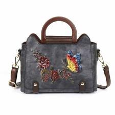 Women Genuine Real Cow Leather Shoulder Bag Messenger Embossed Handbag Strap