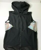 Jessica Simpson The Warm up women's black hooded Zip Up workout vest size M