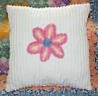 Throw Pillow Made From Vintage Pink Daisy Design 100% Cotton Chenille Bedspread