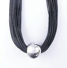 Neu 41cm+8cm HALSKETTE 30-Reihig schwarz KUGEL silber PERLE Kordelkette COLLIER