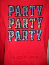 Victorias Secret Pink S Onezie Thermal Red Bling Sequin Party Rare Shiny Pajama
