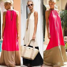 Women Boho Long Maxi Dress Loose Sleeveless Beach Holiday Casual Summer Sundress