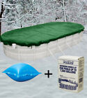 12'x24' Oval Above Ground Winter Pool Cover + 4x4 Air Pillows + Winterizing Kit