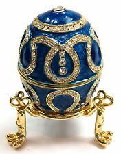 Faberge Egg Jewelry Box with Crystals Decorative Egg Trinket Box, Blue Color