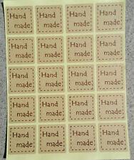 """40 Etichette adesive con scritta """"Handmade"""" colore Marrone 25mm Chiudipacco"""
