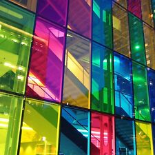 More details for transparent coloured window film stained glass self adhesive vinyl fablon