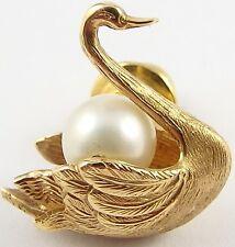 Vintage Italian Cini 14 carat yellow gold swan pearl set pin brooch in nice cond