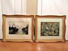 TWO MID-CENTURY CANADIAN LANDSCAPE WATERCOLOUR PAINTINGS BY ARTIST W.T.WOOD
