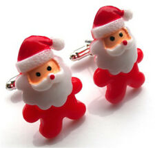 Incredibly cute handmade xmas father christmas cufflinks - with free gift bag