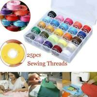 25pcs/Set Bobbins Sewing Machine Spools Case With Colorful Sewing Thread AU