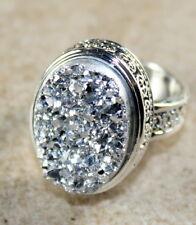 SILVER Vintage Style Shiny Silver Rainbow Titanium Druzy 15x20mm Ring Size 10.75
