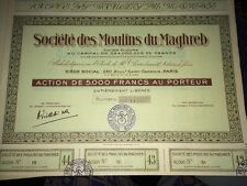 ACTION SOCIÉTÉ Des MOULINS Du MAGHREB, Vers 1960.
