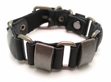 Black Leather Bracelet with Rectangular Metal Buttons - Buckle Clasp