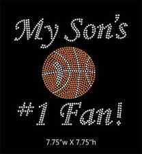 My Son's #1 Fan Basketball Rhinestone Transfer BLING, Iron on DIY