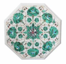 White Marble Malachite Inlaid Coffee Side Table Top Living Room Decor