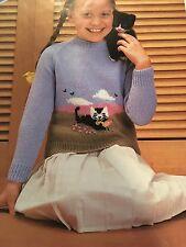 """Knitting Pattern Bambini Ragazza Ragazzo Gatto Design maglione DK 22-28"""" vintage"""