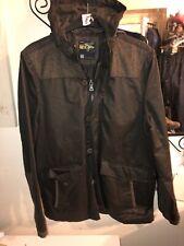 Le breve Mens jacket Tweed and Oil Skinned Look Fabric Dark Brown SIZE XL