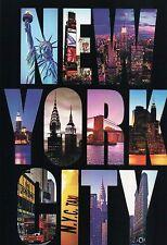Statue of Liberty, Brooklyn Bridge etc., New York City, Large Letter - Postcard