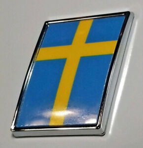 "VOLVO 1"" Swedish Flag Hard Chrome Badge Decal Sweden"