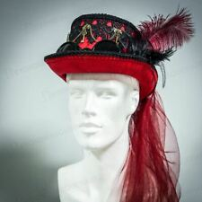 Steampunk Hat Red Costume Hat with Goggles Feathers Lace Unisex