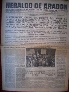 PERIÓDICO GUERRA CIVIL 3 SEPTIEMBRE1936 BATALLA GUIPUZCOA TOMA OYARZUN BEHOBIA