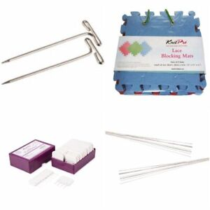KnitPro Lace Blocking Mats - Knit Blockers - T-Pins or Blocking Wire Set Crochet
