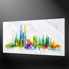 Horizonte de Barcelona Acuarela Pintura Estilo Impresión de lona pared arte Foto de imagen