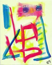 the cage is half empty e9Art 8x10 Abstract Figurative Outsider Art Painting OOAK
