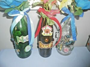 "Handmade Decorative Glass LED Lighted Wine Bottle ""Nature, Woof or Seashore"""