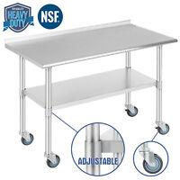 "24""x48"" Commercial Stainless Steel Prep Work Table Kitchen w/Backsplash&4 Caster"