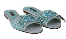 DOLCE & GABBANA Sandals Slide Blue Lace Crystal Embellished Flats 35.5/US 5 $800
