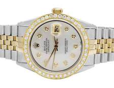 Rolex 18K/ Steel Datejust Two Tone MOP 36MM Quickset 16014 Diamond Watch 3.0 Ct