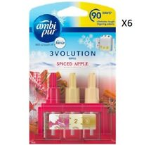 6 X Ambi PUR 3volution Plug in Refill Spiced Apple Air Freshener Scent Home 20ml