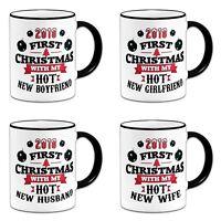 2018 First Christmas With My Hot New Novelty Gift Mug - Black Handle/Rim