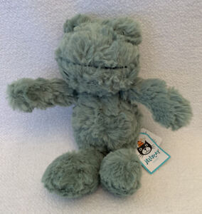 """JELLYCAT NWT Squiggles Frog Green Plush Soft Toy Stuffed Animal Small 8"""" HTF"""