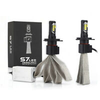 2x S7 72W H4 Car LED Headlight Kit Bulb Conversion COB Lamp 8000LM 6000K WT T3