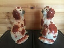 Pair Staffordshire Pottery Fireside Wally Dogs With Open Legs