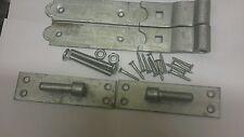 "8 ""Cranked Hook & bande su piastre Zincato Cancello"