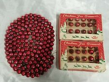 Lot Vtg Christmas Red Mercury Glass Miniature Ornament Bead Garland Japan Feathe