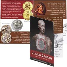 REPRODUCTION Roman coin, Julius Caesar Denarius in information pack [SRCP1P]