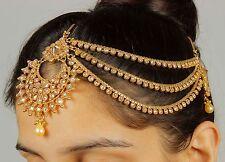 MP-41 Head Hair Piece Indian Costume Jewellery Matha Patti Scarf Hijab Gold Tone