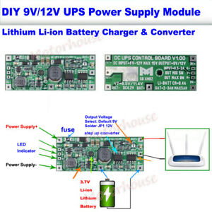 Lithium Li-ion 18650 Battery Charger DC 9V 12V Converter Module UPS Power Supply