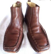 Men's Steeple Gate Brown Leather Slip-On Ankle Boots Size 11 (M) Solid