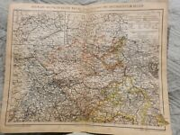 Map - North Germany, Hannover, Cologne- Antique Book Page - c.1885 - German Text