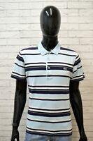 LACOSTE Polo Blu a Righe Uomo Taglia 4 L Maglia Shirt Men's Chemise homme Cotone