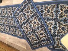 2 piece set blue floral rugs mats