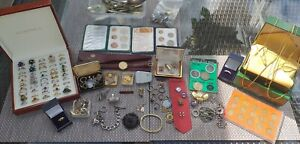 VTG & Modern Lot Costume jewellery Old Silver Spoons, Coins, Home Clearance lot