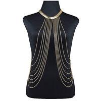 Gorgeous Women's Hot Waist  Bikini Gold Tassel Chain Fancy Body Necklace
