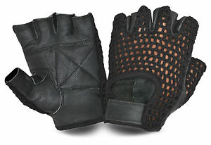 MESH LEATHER WEIGHT LIFTING PADDED GLOVES FINGERLESS CYCLING BIKE DRIVING GYM